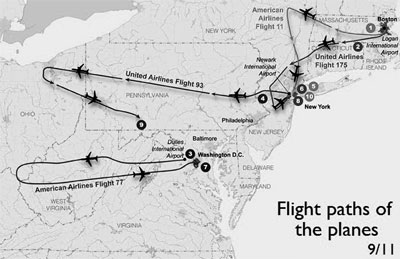 Flight paths of the planes on 9/11